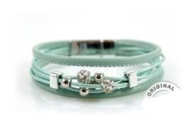 Armband met strass balletjes - Mint