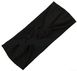 Haarbandje met knoop- zwart