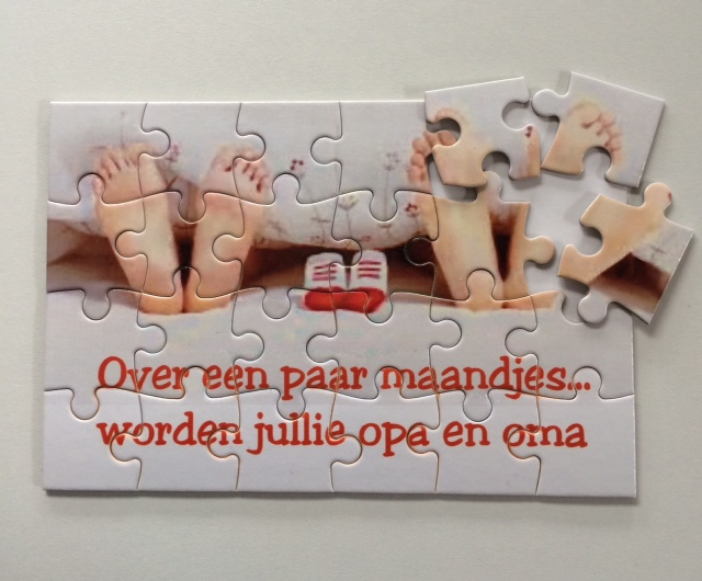 Puzzel 24 stukjes - Hoera jullie worden opa/oma-oom/tante | Zwangerschaps  aankondiging | Kadootjes Enzo