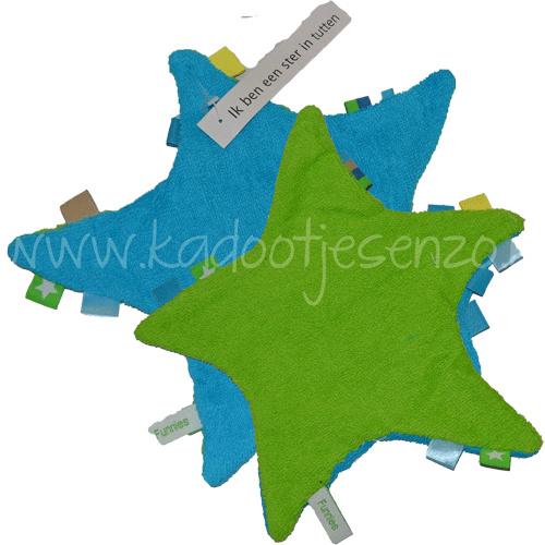 Labeldoekje Ster - Turquoise / Groen