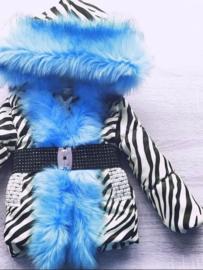 Zebra print Winterjas met grote bontkraag |