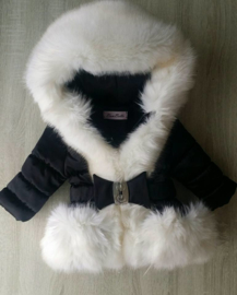 Cream winterjas Supersoft Fur  Bontkraag winterjas (creme bont )