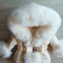 Creme  Winterjas met grote volle bontkraag  Supersoft Cream