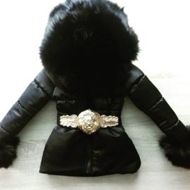 DAMES |  Zwarte Winterjas met grote  bontkraag Leo