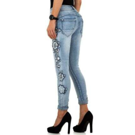 XS t/m XL  Luxe Jeans versierd met bloemen