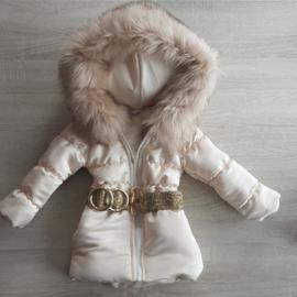 DAMES |  Winterjas met grote  bontkraag (Afgebeeld met Beige Bontkraag)