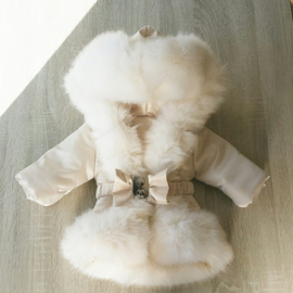 GEEN RETOUR  DAMES Cream winterjas Supersoft Fur Bontkraag winterjas