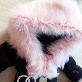 DAMES |  Zwarte Winterjas met grote  bontkraag | D1