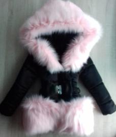 Winterjas met grote Bontkraag Roze