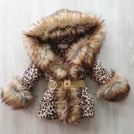 DAMES |  Winterjas met grote  bontkraag | Panterprint DG2
