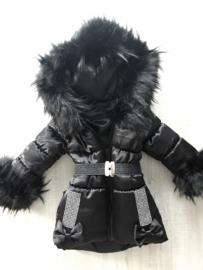 Winterjas met grote bontkraag Strikjes