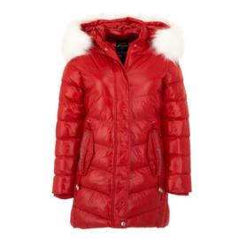 S t/m XXL  Winterjas Dames  Bontkraag jas SALE  bontjas rood