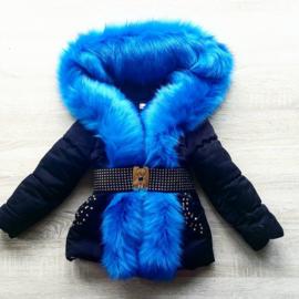 Zwarte Winterjas met grote bontkraag