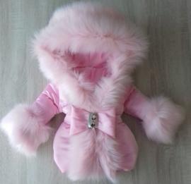 DAMES Winterjas met grote volle bontkraag  Roze  Bontkraag