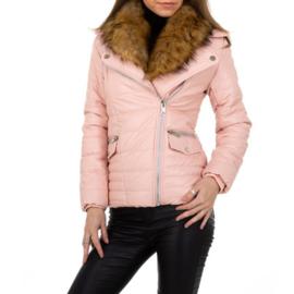 S t/m XXL SALE Winterjas Dames  Bontkraag jas bontjas Roze