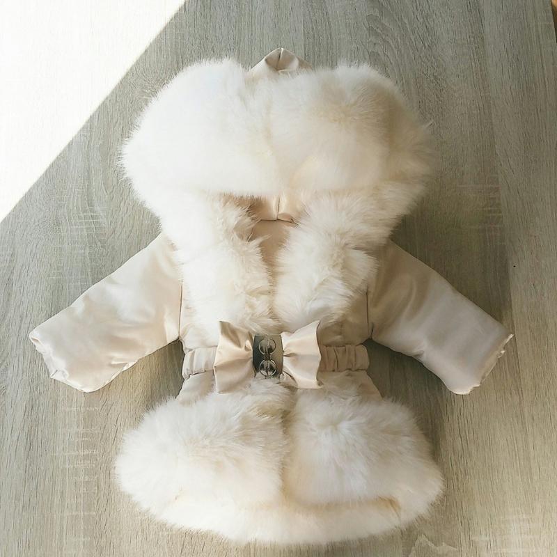 DAMES Cream winterjas Supersoft Fur Bontkraag winterjas