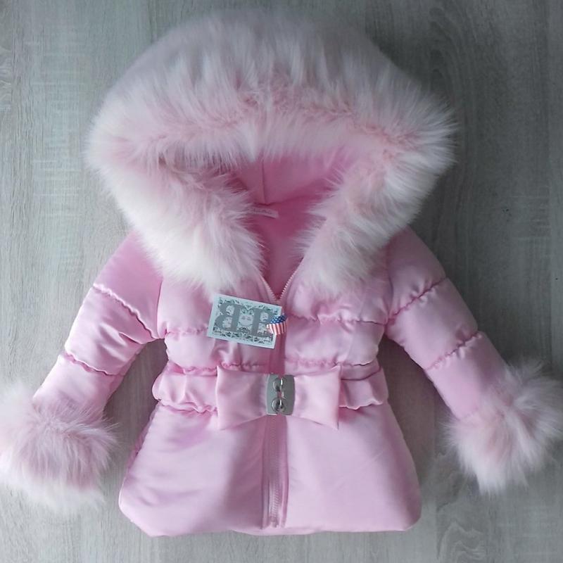 Winterjas met grote zachte bontkraag Pink Lady