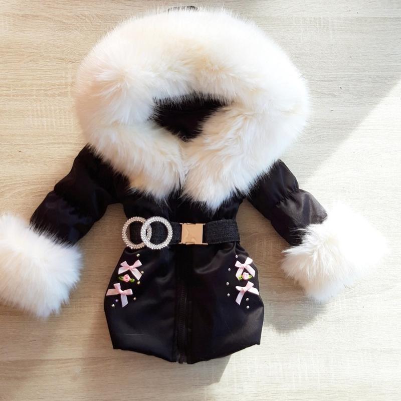 Zwarte Winterjas met grote bontkraag | Strikjes  Steentjes V1