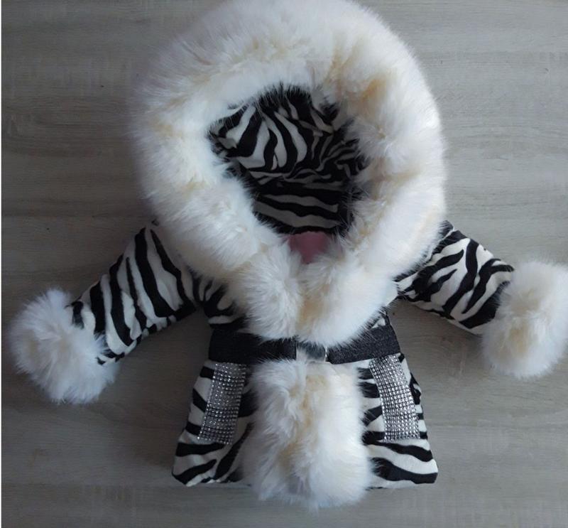 Zebra print winterjas met grote bontkraag