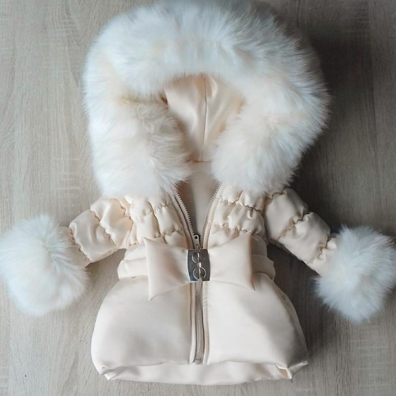 Winterjas met grote zachte bontkraag Supersoft Cream