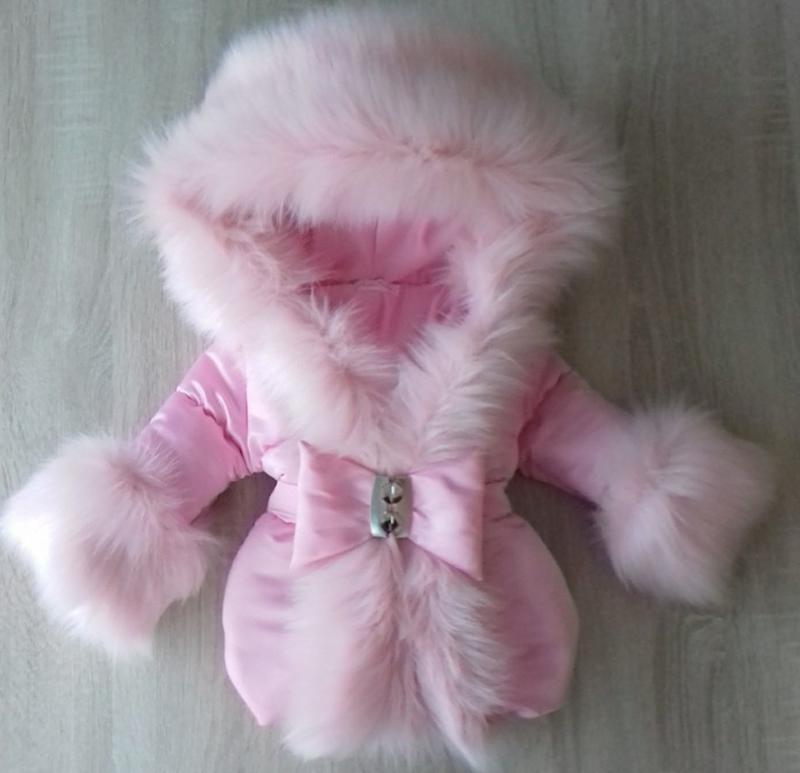 Winterjas met grote zachte bontkraag Soft Pink