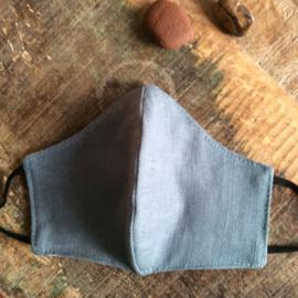 mondkapje linnen #5 grey ice blue