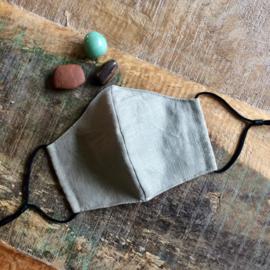 mondkapje linnen #4 kaki / grey-beige