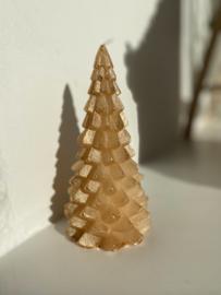 Kerstboom kaars goud 20cm