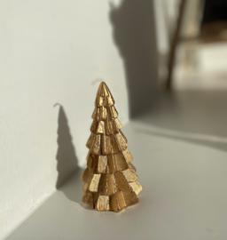 Kerstboom kaars goud 12cm
