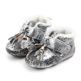 Zilver/ grijze schoentjes met franjes