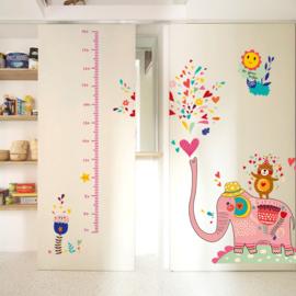 Muursticker Roze Olifant en Meetlat 120 x 130 cm
