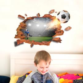 Muursticker Voetbal Door Muur 88 x 55cm
