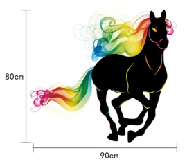 Muursticker Paard met Regenboogkleuren 90 x 80 cm