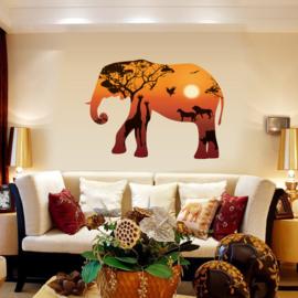 Muursticker Olifant met Africa achtergrond 68 x 95cm