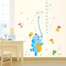 Muursticker Blauwe Olifant met Meetlat 115 x 150 cm