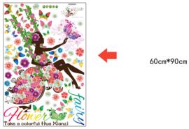 Muursticker Elfje met allemaal bloemen en kleuren 85 x 170cm