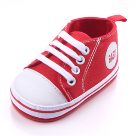 Rode gympen met 'baby' logo