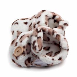 Witte sloffen met panterprint en sierknoop