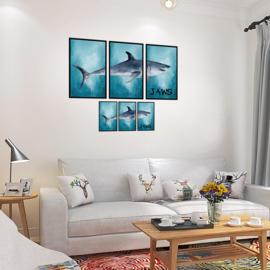 Muursticker Grote Witte Haai 85,5 x 44 cm en 43,5 x 22,5 cm