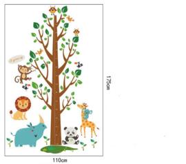 Muursticker Boom met meetlat en dieren 110 x 175 cm