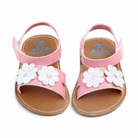 Roze sandalen met bloemen