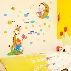 Muursticker Maan, Sterren en Giraffe 112 x 115cm