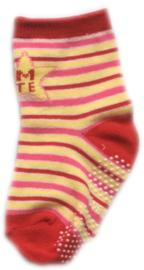 Antislip Sokken Rood, Roze en Geel gestreept
