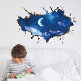 Muursticker Maan met Sterrenhemel 89 x 58,5cm