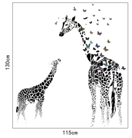 Muursticker Abstracte Giraffe's 130 x 115cm