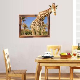 Muursticker Giraffe 3D die uit schilderij lijkt te stappen 76 x 86cm