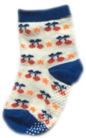 Antislip Sokken Wit en blauw met kersen