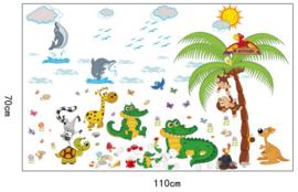 Muursticker Vrolijke Dieren uit de Dierentuin 110 x 70 cm