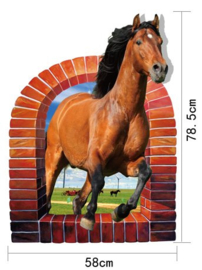 Muursticker Realistisch Paard 58 x 78,5 cm