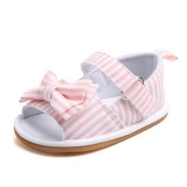 Wit roze gestreepte sandalen met strik